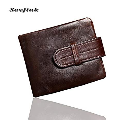 Amazon.com: Luxury Vintage Casual 100% Real Genuine Cowhide Oil Wax Leather Men Short Bifold Wallet Wallets Purse Coin Pocket Male: Kitchen & Dining