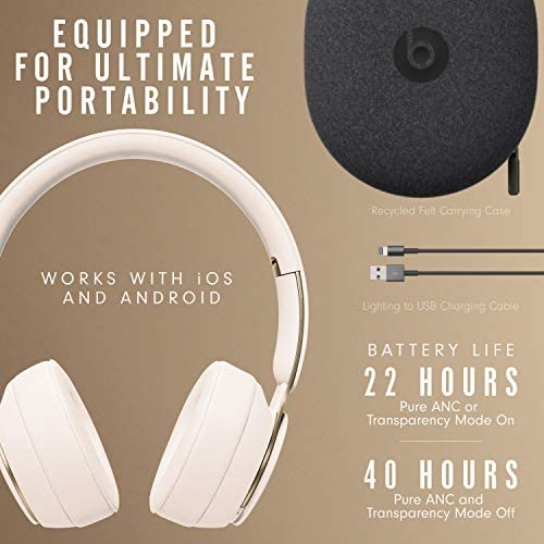 Beats Solo Pro Wireless Noise Canceling On Ear Headphones Apple H1 Headphone Chip Class 1 Bluetooth Active Noise Canceling Transparency 22 Hours Of Listening Time Ivory Gear Up To Fit