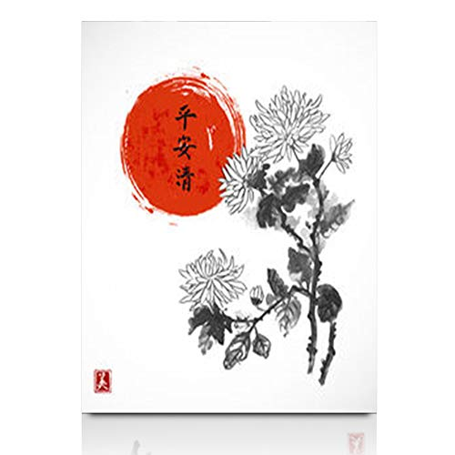 Aika Designs Canvas Prints Wall Art Artistic Chrysanthemum Flowers Red Sun Oriental Art Nature 12 x 12 Inches Modern Painting Decor Stretched Wooden Framed Wrapped Artwork