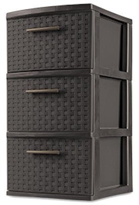 "Sterilite 26306P02 15"" X 12 5/8"" X 24"" Espresso Brown 3 Drawer Weave Tower"