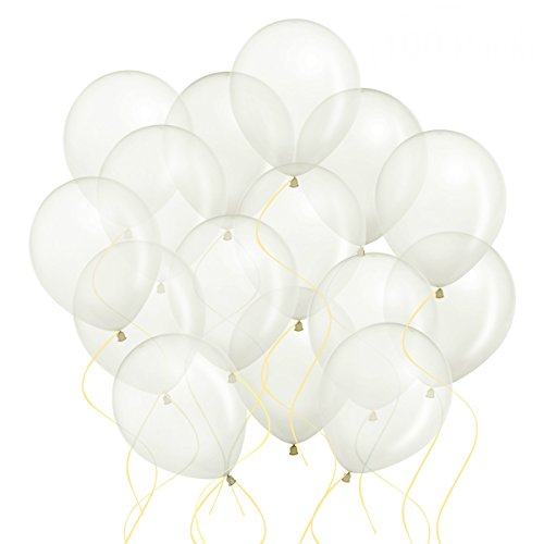Yalulu 100pcs 12 Inch White Clear Transparent Latex Balloons Birthdays Events Party (Small White Balloons)