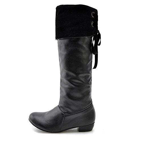 Lace Knee Riding High Chunky Boot Women's Toe Fashion Heel Round Heel Black Up Yvqx8wz
