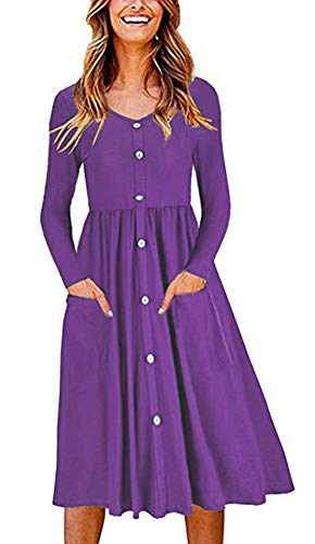 ECHOINE Women Purple Long Sleeve Buttons Down Midi Dress with Pocket