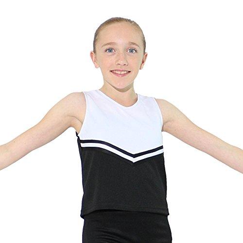 Danzcue Girls V-Neck Cheerleaders Uniform Shell Top, Black/White, -