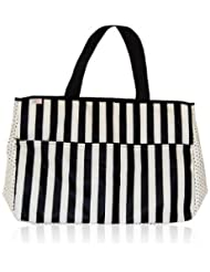 xo(eco) Weekender Oversized Travel Bag, Black/Cream Tuxedo Stripe