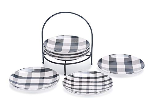 (Bico Plaid Check Black n White 6 inches Ceramic Appetizer Plate with Rack, Set of 7, for Salad, Appetizer, Snacks, Plates Microwave & Dishwasher Safe, House Warming Birthday Anniversary Gift)