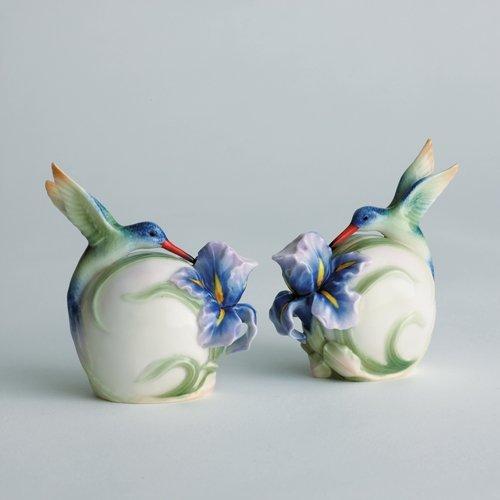 - Franz Porcelain Long tail hummingbird salt & pepper shakers (set/2) Franz Fine Porcelain
