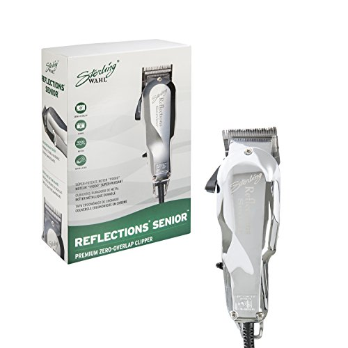 Wahl Professional Reflections Senior Clipper #8501 – Classic Clipper with Metal Housing and Chrome Lid – Cool Running v9000 Motor for Premium Fades and Blends – Great for Barbers and Stylists