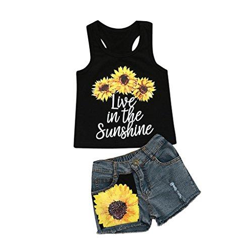 Toddler Baby Girls Letter Print Sleeveless Vest Tops T-Shirt Floral Denim Shorts Outfit Set (Black, 3T)