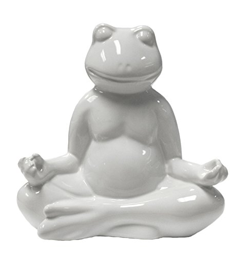 Sagebrook Home 11322 Ceramic Yoga Frog Figurine, White Ceramic, 7 x 4 x 7.5 Inches