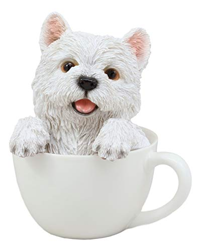 - Ebros Realistic Adorable White Westie Dog in Teacup Statue 6