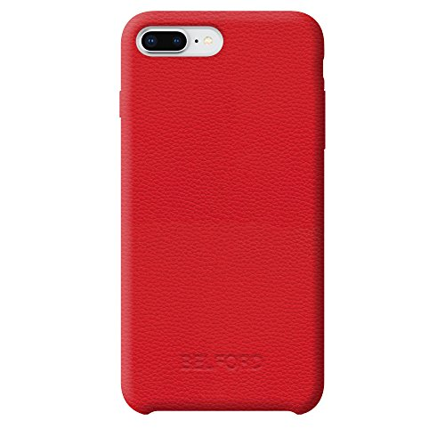 Genuine Italian Leather Red Case iPhone 8 Plus iPhone 7 Plus Luxury Cowhide Protective Premium Microfiber Lining Slim Fit Hard Back Cover Case iPhone8 Plus iPhone7 Plus Leather Cases Durable Cover Red Luxury Leather