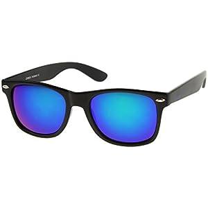 zeroUV - Matte Finish Reflective Color Mirror Lens Large Square Horn Rimmed Sunglasses 55mm (Matte / Green-Blue)