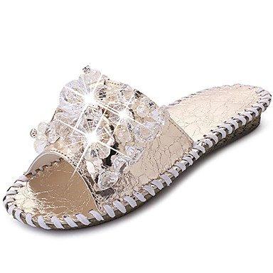LvYuan Mujer Sandalias PU Primavera Verano Tacón Plano Dorado Plata Menos de 2'5 cms Silver