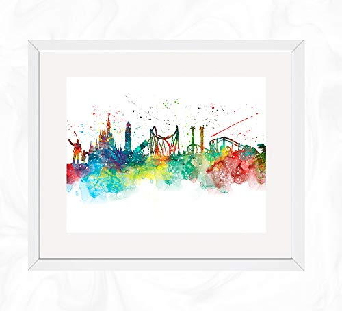 Disney World Florida Prints, Amusement Park Watercolor, Nursery Wall Poster, Holiday Gift, Kids and Children Artworks, Digital Illustration Art