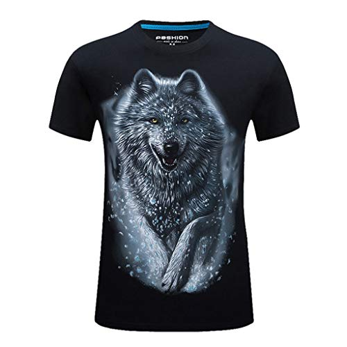 XLnuln Men's New Summer Printed Casual Short Large Size Round Neck T-Shirt Tops Elastic Band Wild Tees -