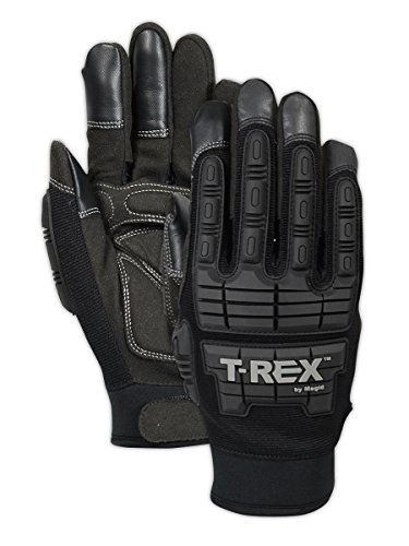 Magid Safety T-REX TRX606XS Impact Gloves | Cut Resistant Leather Impact Mechanics Gloves with a Foam Padded Palm - Cut Level 1, Abrasion Level 4, Black, XS (1 Pair) (Impact Foam)
