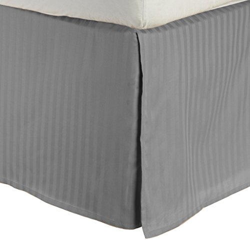 Impressions by Luxor Treasures Combed Cotton 300 Thread Count Bed Skirt Stripe, Grey, - Grey Bedskirt Queen Stripe