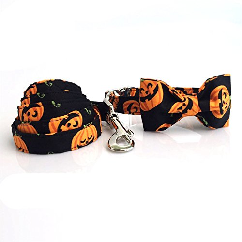 Kuntrona Halloween pumpkin collar leash set with bow tie dog cat necklace dog leash pet gift collar bow leash L -