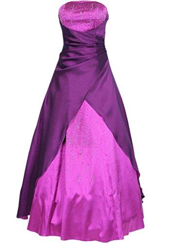 Satin HWAN lange Frauen eine Abendkleid tr wulstig Linie gerlosen Fuchsie Brautkleid prom wwqBxr