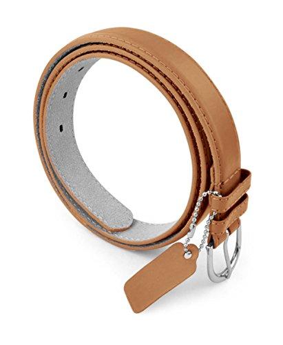Belle Donne Women's Skinny Thin Belts 1in Bonded Leather Dress Belt Metal Buckle - Tan