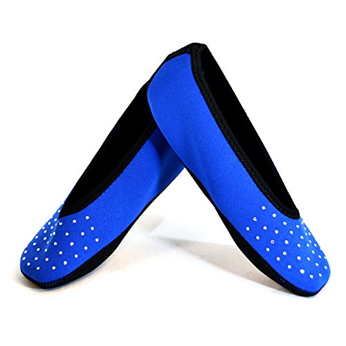 NuFoot Sparkle Ballet Flats Women's Shoes Best Foldable & Flexible Flats Slipper Socks Travel Slippers & Exercise Shoes Dance Shoes Yoga Socks House Shoes Indoor Slippers Royal Blue Medium 2 Count by Nufoot