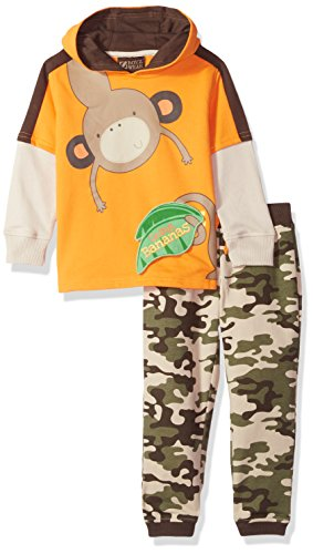 BoyzWear Little Boys Toddler 2 Piece Hooded 2fer Flip up French Terry Pant Set Orange 2T