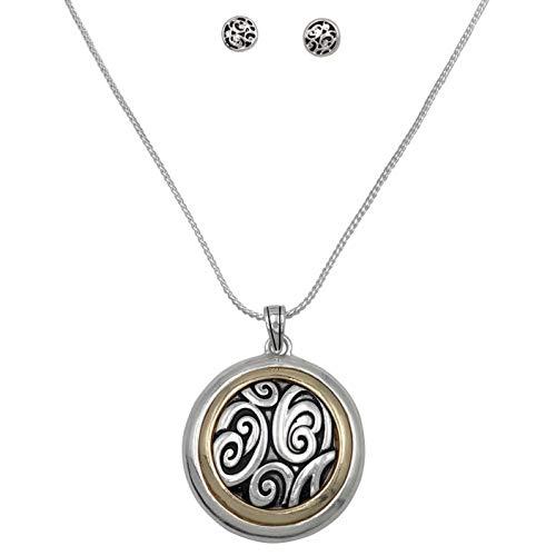 (Gypsy Jewels Simple Pendant Silver Tone Boutique Style Statement Necklace & Dangle Earrings Set (Long 2 Tone Swirls))