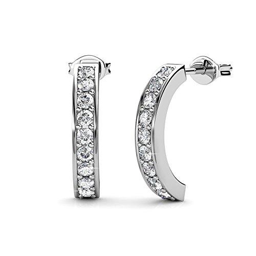 Cate & Chloe Erin Adored Gold Hoop Earrings, 18k White Gold Plated Half Hoop Earrings with Swarovski Crystals, Silver Small Hoop Earring Set for Women, Wedding Anniversary Jewelry