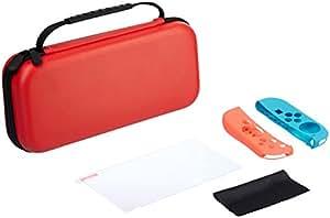 AmazonBasics Kit de protección para Nintendo Switch con funda para llevar y protector para pantalla de vidrio templado (Rojo)