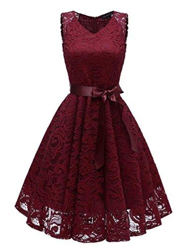 Jaycargogo Femmes Rétro Manches Courtes Floral Swing Crochet Dentelle Robe Ceinturée Clubwear Vin Rouge