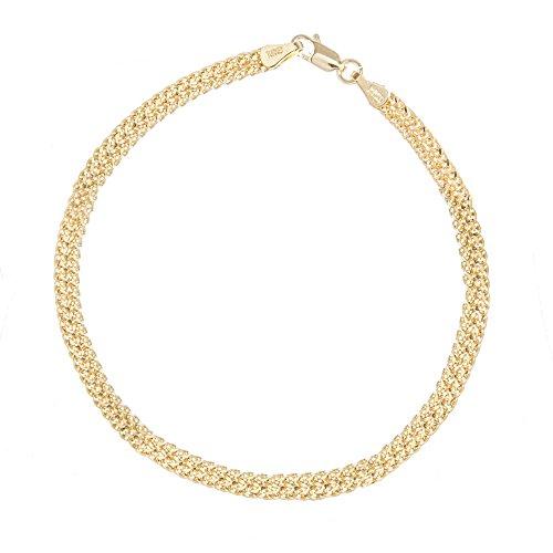 14k Yellow Gold Diamond-cut Bismark Chain Bracelet ()