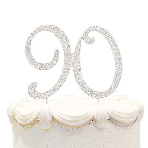 90 Birthday Silver Cake Topper