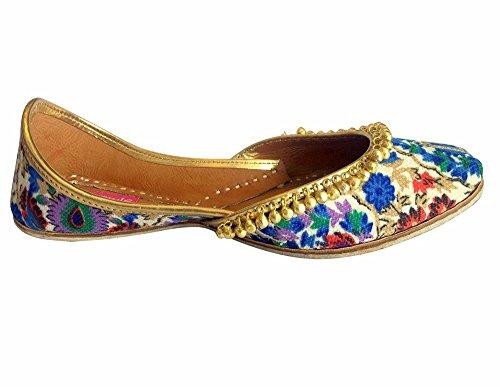 Schritt N Style Frauen Khussa Schuhe Ethnic jutti jooti Kameez Flache Sandalen Slipper Mehrfarbig