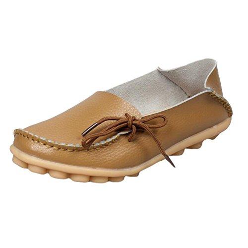 Heheja Mujer Mocasines de Cuero Loafers Casual Piso Zapatos Zapatillas con Bowknot Caqui