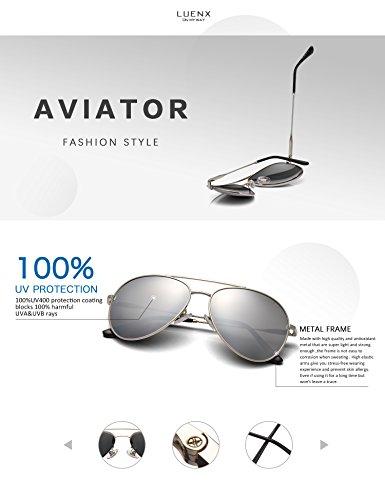 f1487e6c61c LUENX Men Women Aviator Sunglasses Polarized Mirrored Silver Lens Metal  Frame UV 400 Driving 59MM with