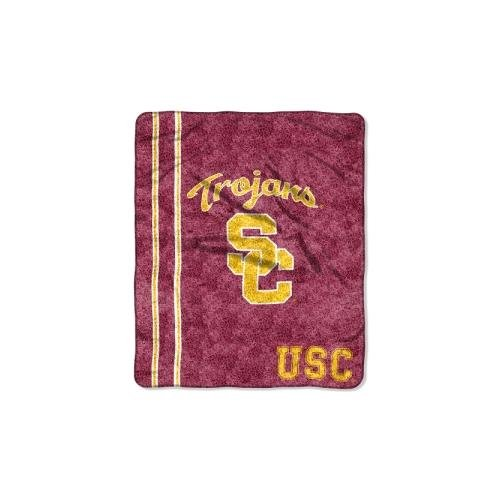 Officially Licensed NCAA USC Trojans Jersey Sherpa on Sherpa Throw Blanket, 50' x 60'