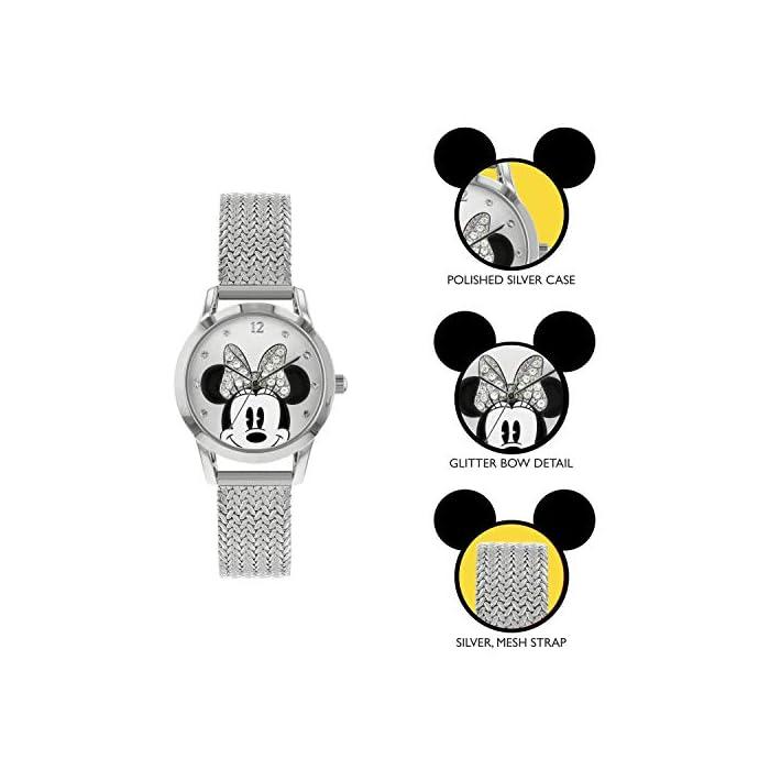 41J6loPbXfL Reloj de Minnie Mouse para adultos Esfera de 30 mm Correa de malla de metal plateado
