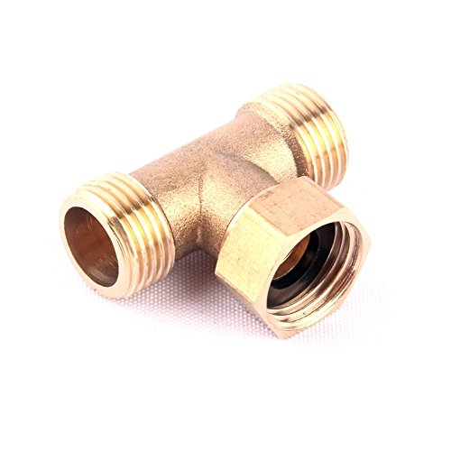 Best Garden Tools 1pc 1/2 Inch Brass Tee Thread Connector Garden Hose 3 Way Brass Pipe Fitting