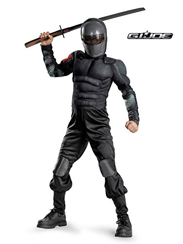 Gi Joe Black Ninja Costume (Snake Eyes Classic Muscle Child Costume - Medium)