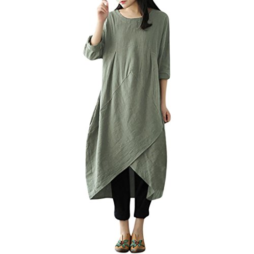 Clearance Sale! Wintialy Women Vintage Long Sleeve Tunic Baggy Long Maxi Dress Plus Size -