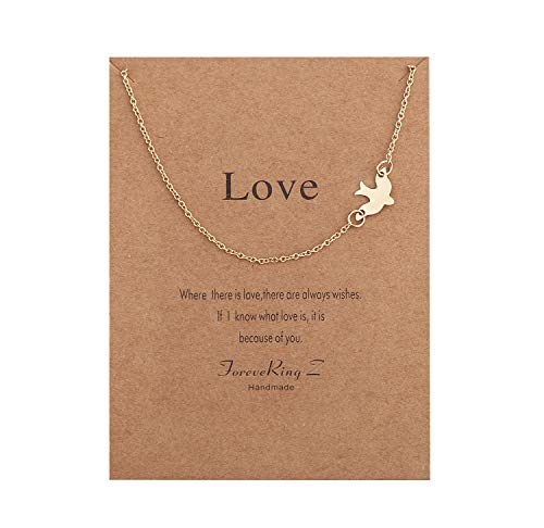 ForeveRing Z Message Card Best Love Dove Necklace Bird Choker Woman Jewelry
