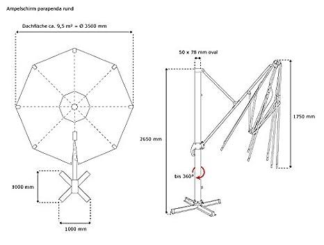 PARAMONDO parapenda Ombrellone da giardino decentrato 3,5 m antracite // Telaio con base di appoggio a croce inclusa rotondo//blu