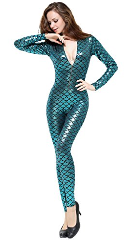 Lotsyle fish scale printing bodysuit women long sleeve for Fish costume women