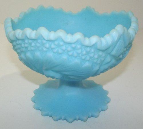 Vintage Fenton Light Blue Satin Glass Compote