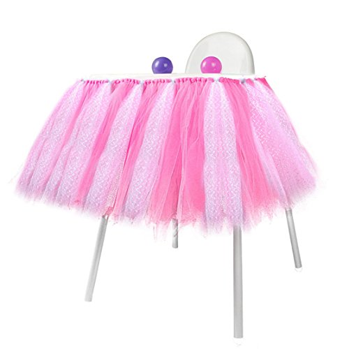 Lansian Tulle Tutu Table Skirt for 1st Birthday Girl High Chair Decorations Pink and Silver for Party, Wedding and Home Decoration (Pink&Silver, 39'' Length x 15.7'' Height) by Lansian (Image #4)