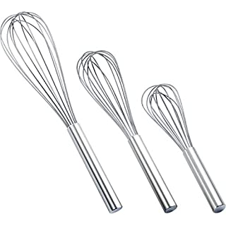 CAMKYDE 3 Pack Whisks Stainless Steel Whisks Balloon Whisks, Sturdy Kitchen Wire Whisk Set for Cooking, Blending, Whisking, Beating, Stirring (8 + 10+ 12 Inches)