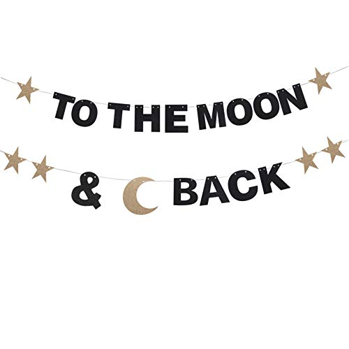 to The Moon and Back Black Glitter Letter Bunting Banner Pale Gold Little Star Sweet Love Baby Shower Birthday Wedding Anniversary Party Gift Keepsake Decoration Supplies Photo Prop. ()