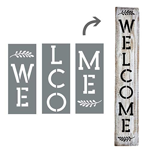 Large Vertical Welcome Sign Stencils For Painting on Wood and More - Create Beautiful Wood Signs With This Large Welcome Stencil - Set of 3 Individual Stencils for Making a DIY Welcome Sign