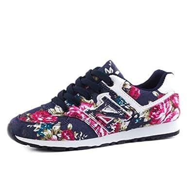 Zapatillas con cordones de mujer con diseño de flores, color azul, talla 41 EU